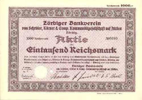 Zörbiger Bankverein von Schröter, Körner & Comp.