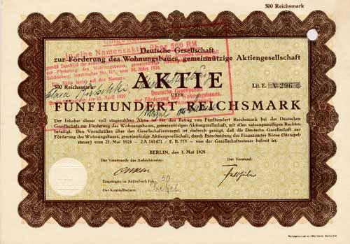 Deutsche Gesellschaft zur Förderung des Wohnungsbaues, gemeinnützige AG