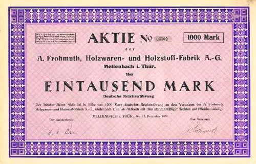 A. Frohmuth, Holzwaren- und Holzstoff-Fabrik