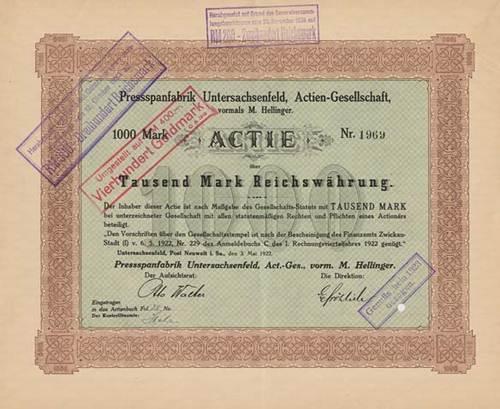 Pressspanfabrik Untersachsenfeld, vormals M. Hellinger