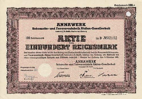 Annawerk Schamotte- und Tonwarenfabrik vormals J. R. Geith, Oeslau bei Coburg