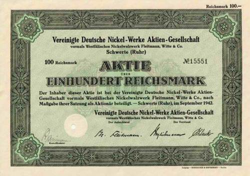 Vereinigte Deutsche Nickel-Werke vormals Westfälisches Nickelwalzwerk Fleitmann, Witte & Co.