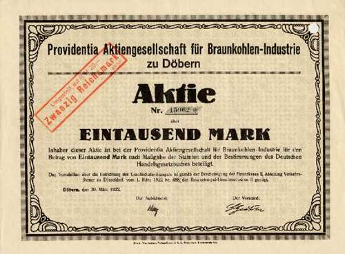 Providentia AG für Braunkohlen-Industrie zu Döbern