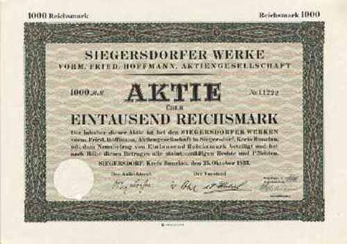 Siegersdorfer Werke vorm. Fried. Hoffmann