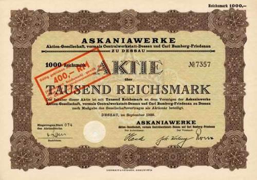Askaniawerke, vormals Centralwerkstatt-Dessau und Carl Bamberg-Friedenau