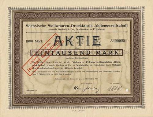 Sächsische Wollwaaren-Druckfabrik vormals Oschatz & Co.