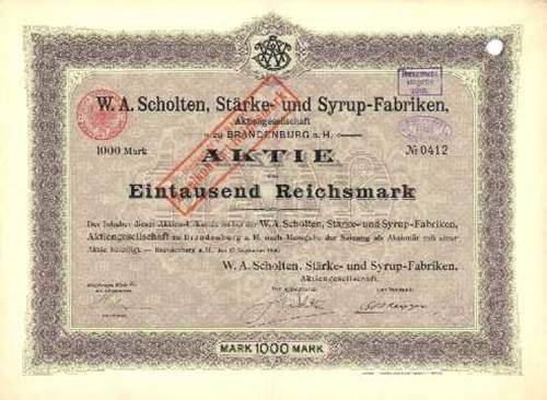W. A. Scholten, Stärke- und Syrup-Fabriken