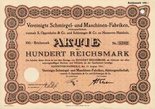 Vereinigte Schmirgel- und Maschinen- Fabriken vormals S. Oppenheimer & Co. und Schlesinger & Co.