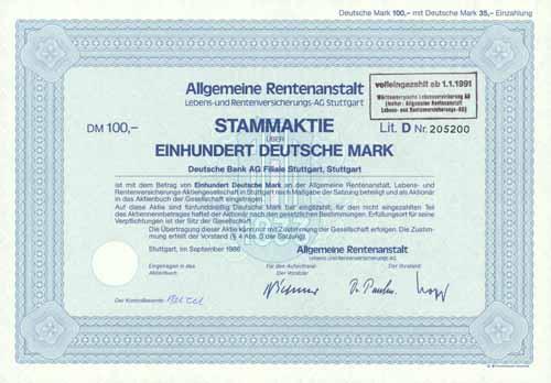 Allgemeine Rentenanstalt, Lebens- und Rentenversicherungs-AG