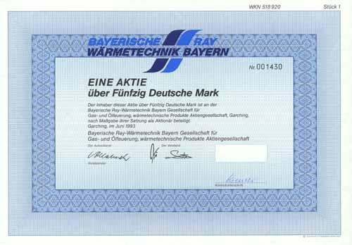 Bayerische Ray-Wärmetechnik Bayern Gesellschaft für Gas- und Ölfeuerung, wärmetechnische Produkte