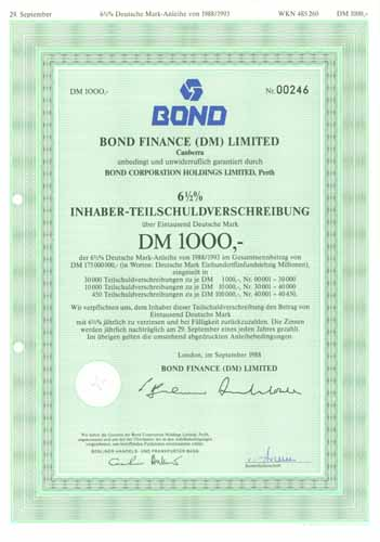 Bond Finance (DM) Limited