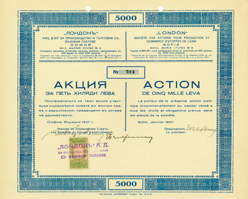 London Société par Actions pour Production et Commerce d'Etoffes de Laine