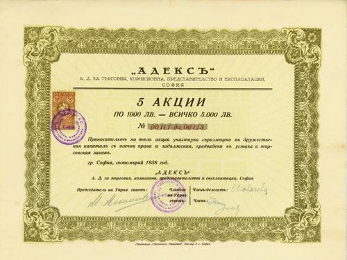 Adeks AG für Handel, Komission, Vertretung und Betrieb