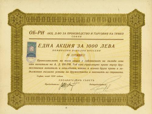 OB-RI AG für Trikot-Herstellung und -handel
