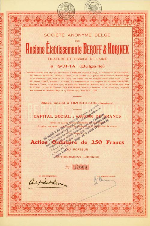 Société Anonyme Belge des Anciens Établissements Beroff & Horinex Filature et Tissage de Laine