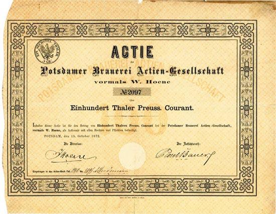 Potsdamer Brauerei Actien-Gesellschaft vormals W. Hoene
