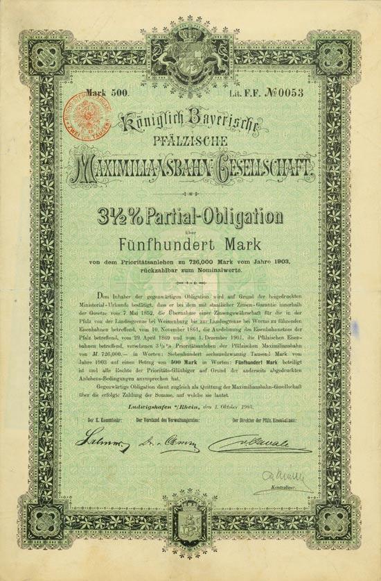 Königlich Bayerische Pfälzische Maximiliansbahn-Gesellschaft [27 Stück]