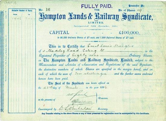 Hampton Lands & Railway Syndicate, Limited