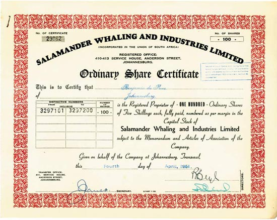 Salamander Whaling and Industries Limited