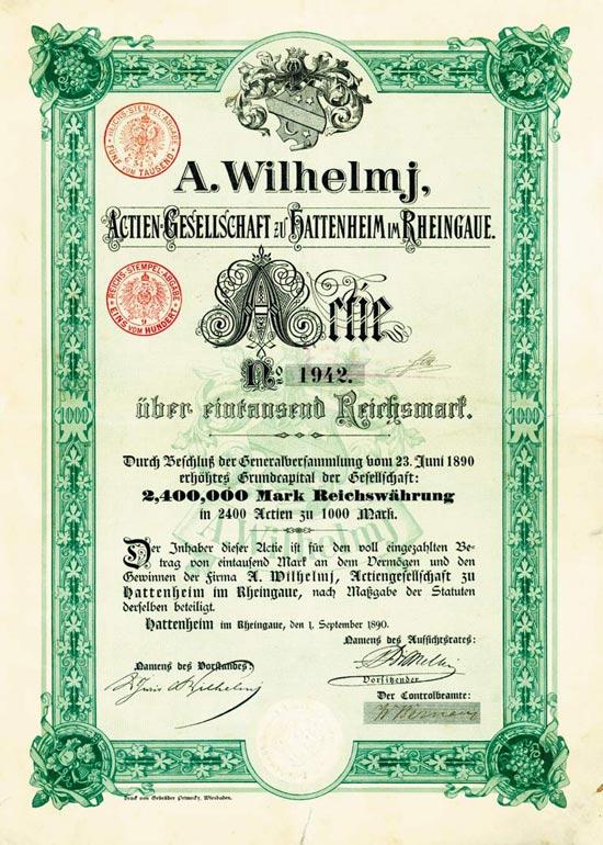 A. Wilhelmj AG zu Hattenheim im Rheingaue