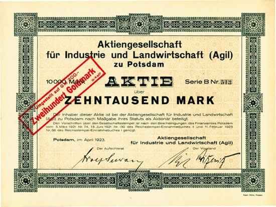 Aktiengesellschaft für Industrie und Landwirtschaft (Agil) zu Potsdam (Multiauktion 2)