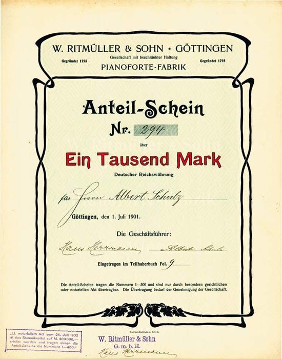 W. Ritmüller & Sohn GmbH Pianoforte-Fabrik