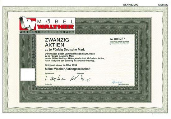 Hwph Ag Historische Wertpapiere Möbel Walther Ag