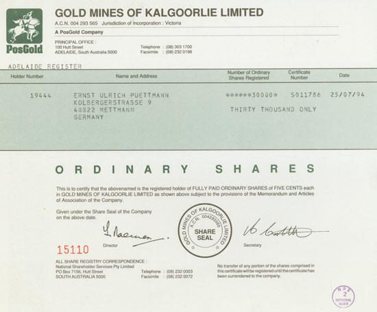 Gold Mines of Kalgoorlie Limited