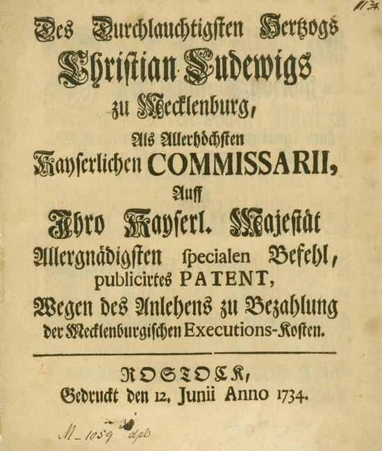 Edikt wegen des Anlehens zu Bezahlung der Mecklenburgischen Executions-Kosten