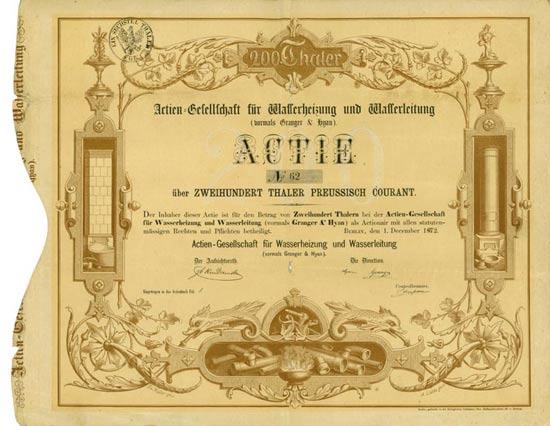Actien-Gesellschaft für Wasserheizung und Wasserleitung (vormals Granger & Hyan) zu Berlin