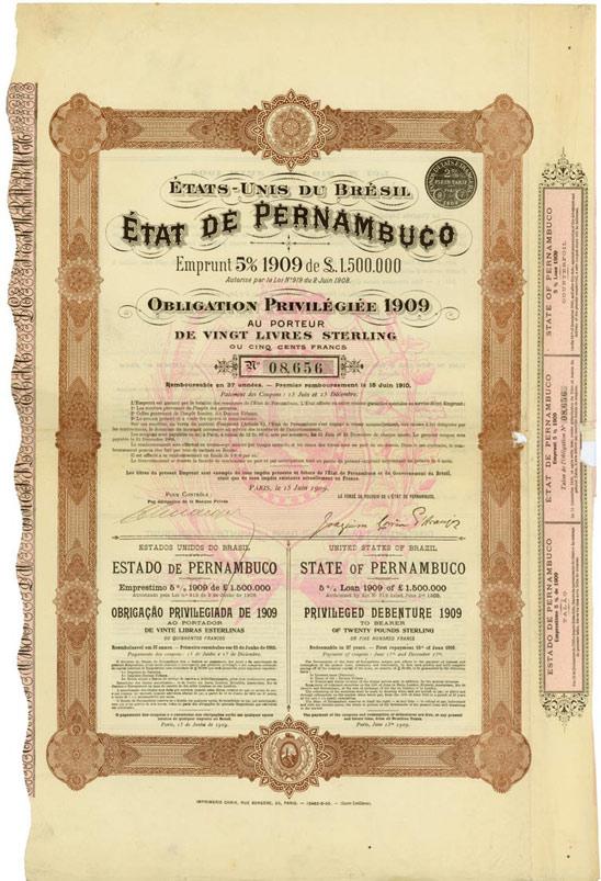 Etats-Unis du Bresil / Etat de Pernambuco / United States of Brazil / State of Pernambuco