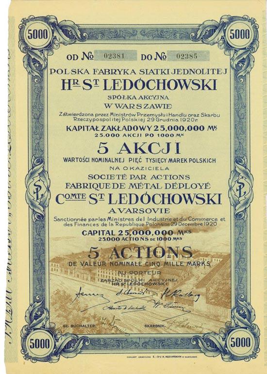 Polska Fabryka Siatki Jednolitej Hr. St. Ledochowski / Fabrique Métal Déployé Comte St. Ledóchowski