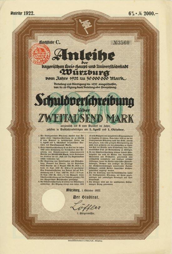 Bayerische Kreis-Haupt- und Universitätsstadt Würzburg
