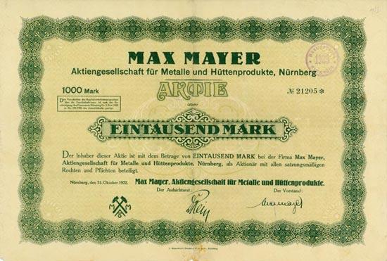 Max Mayer AG für Metalle und Hüttenprodukte