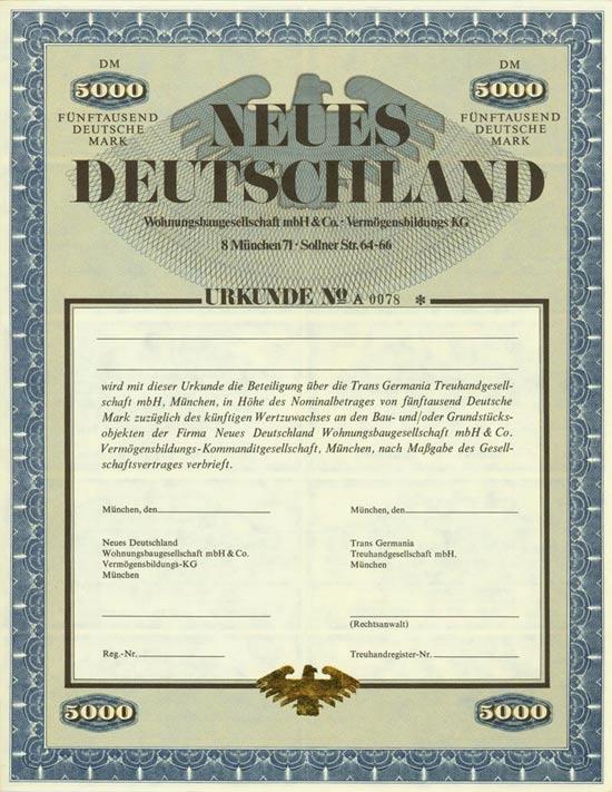 Neues Deutschland Wohnungsbaugesellschaft mbH & Co. - Vermögensbildungs KG
