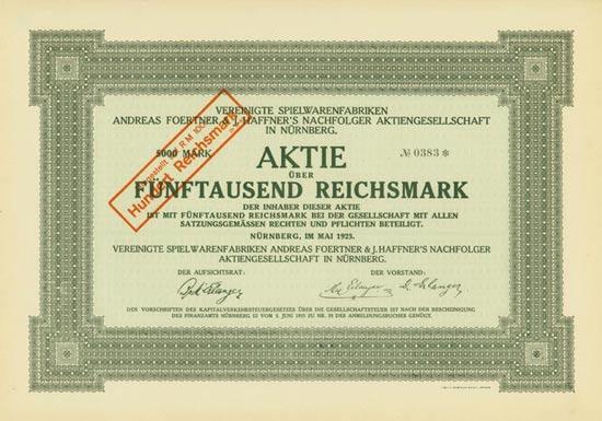 Vereinigte Spielwarenfabriken Andreas Foertner & J. Haffner's Nachfolger AG
