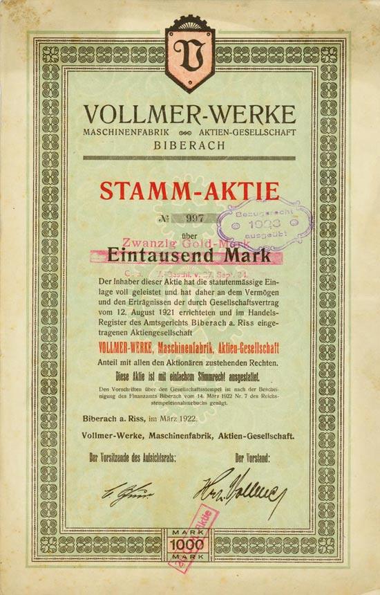 Vollmer-Werke Maschinenfabrik AG