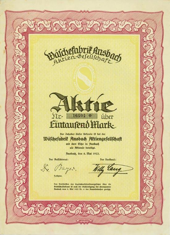 Wäschefabrik Ansbach AG [Multiauktion 2]