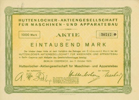 Huttenlocher AG für Maschinen- und Apparatebau