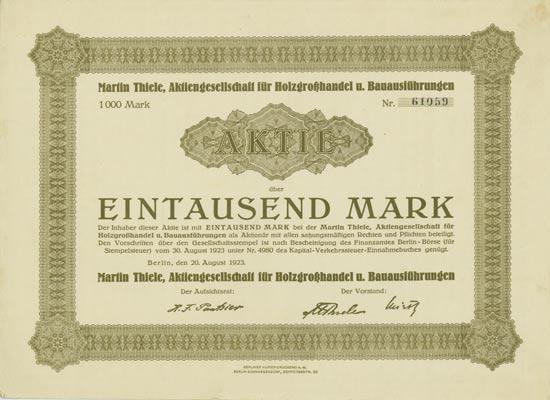 Martin Thiele, Aktiengesellschaft für Holzgroßhandel u. Bauausführungen [Multiauktion 2]