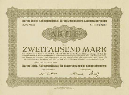 Martin Thiele, Aktiengesellschaft für Holzgroßhandel u. Bauausführungen [Multiauktion 4]