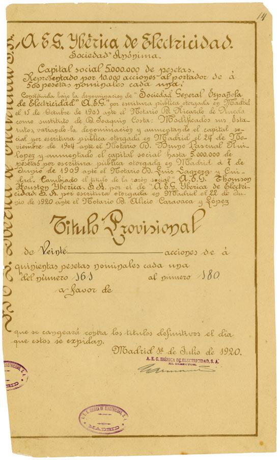 A.E.G. Iberica de Electricidad Sociedad Anónima