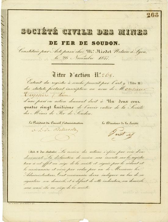 Société Civile des Mines de fer de Soudon