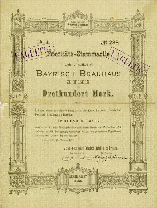 Actien-Gesellschaft Bayrisch Brauhaus zu Dresden