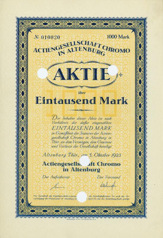 Actiengesellschaft Chromo in Altenburg