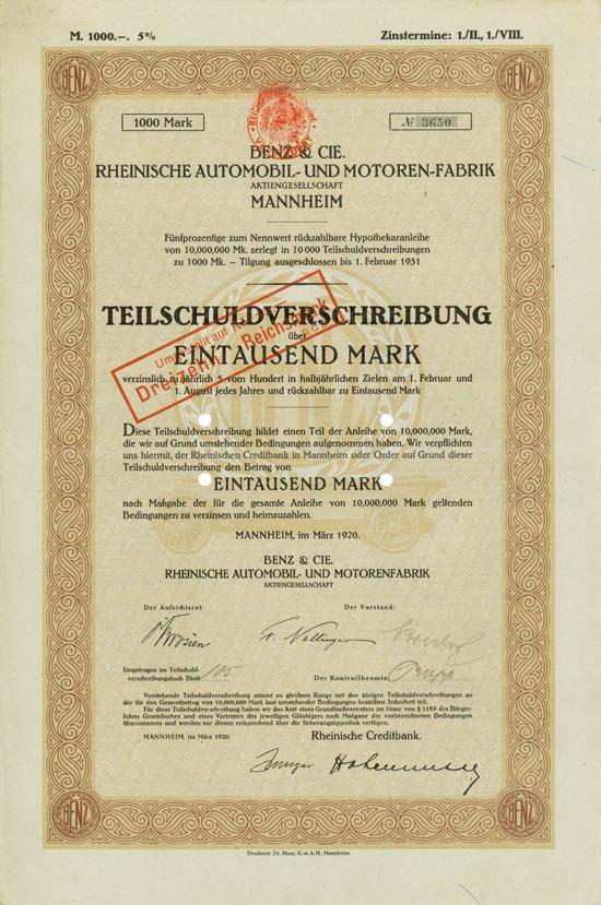 Benz & Cie. Rheinische Automobil- und Motoren-Fabrik AG Mannheim, 1920