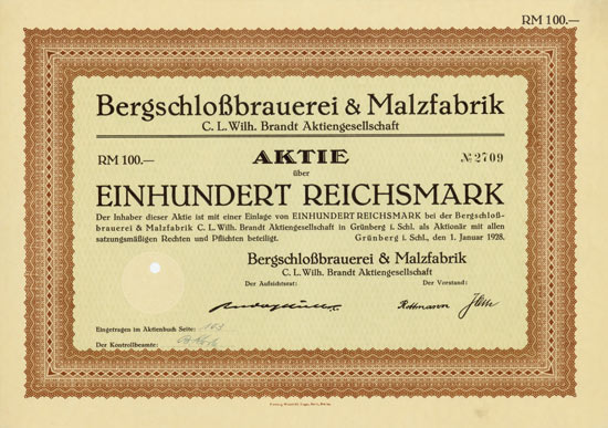 Bergschloßbrauerei & Malzfabrik C. L. Wilh. Brandt AG