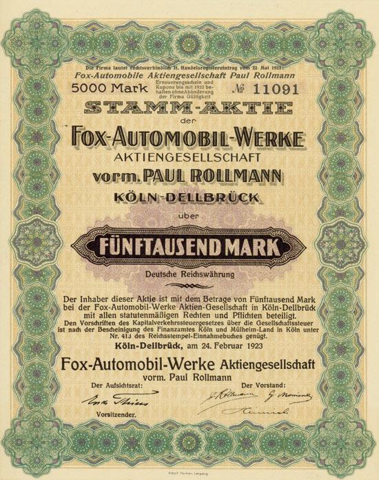 Fox-Automobil-Werke AG vorm. Paul Rollmann