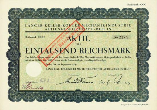 Langer-Keller-Köhler Mechanikindustrie AG