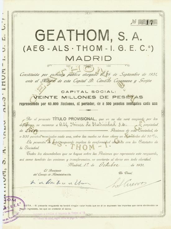 A.E.G. Iberica de Electricidad S. A. / GEATHOM, S. A. (AEG - ALS THOM - I.G.E.C.°)